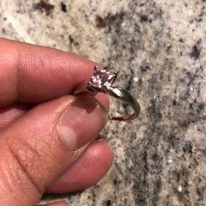 Silver zirconia princess cut pink stone ring
